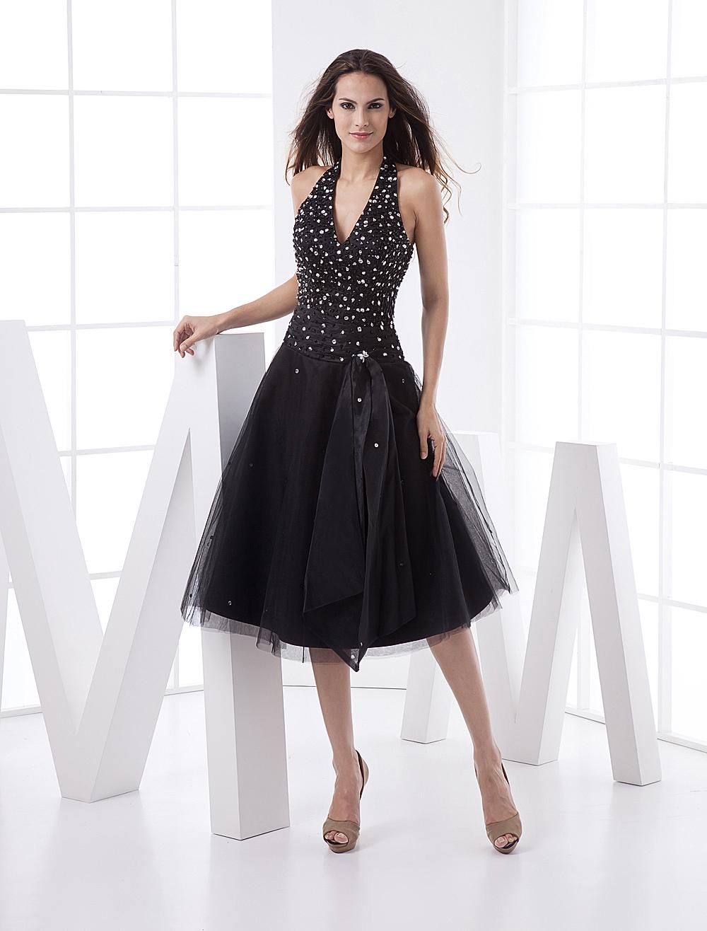 Black Deep-V Rhinestone Satin Prom Dress (Wedding Prom Dresses) photo