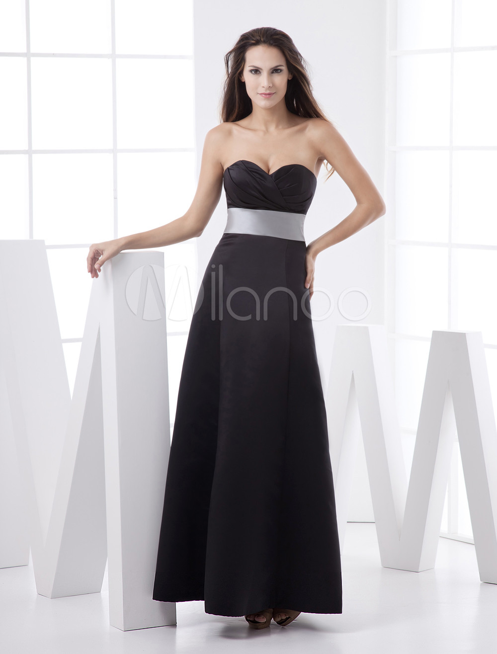 Black Strapless Sweetheart Sash Floor Length Satin Bridesmaid Dress