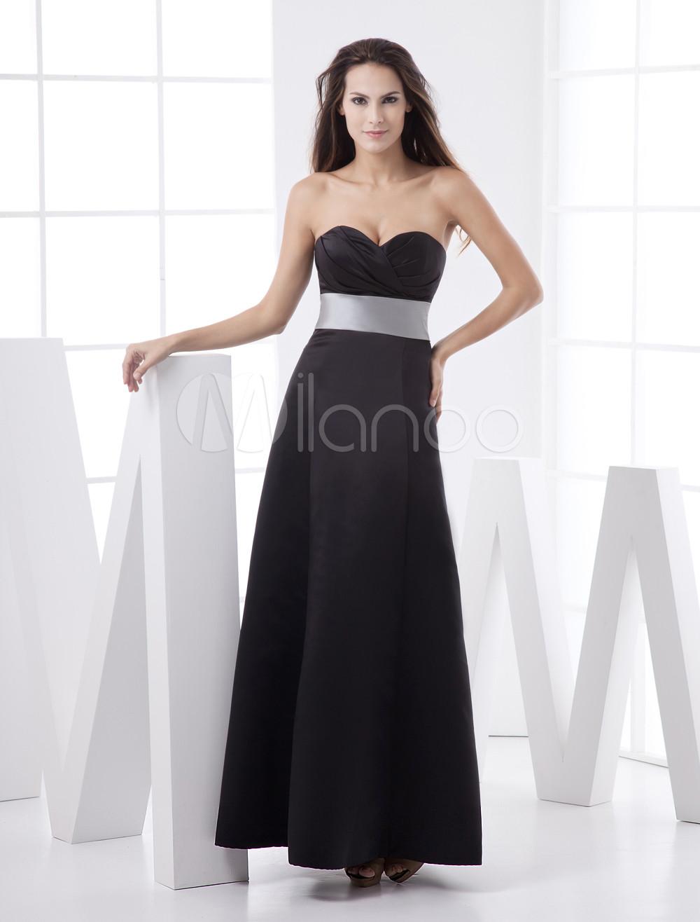 Black Strapless Sweetheart Sash Floor Length Satin Bridesmaid Dress