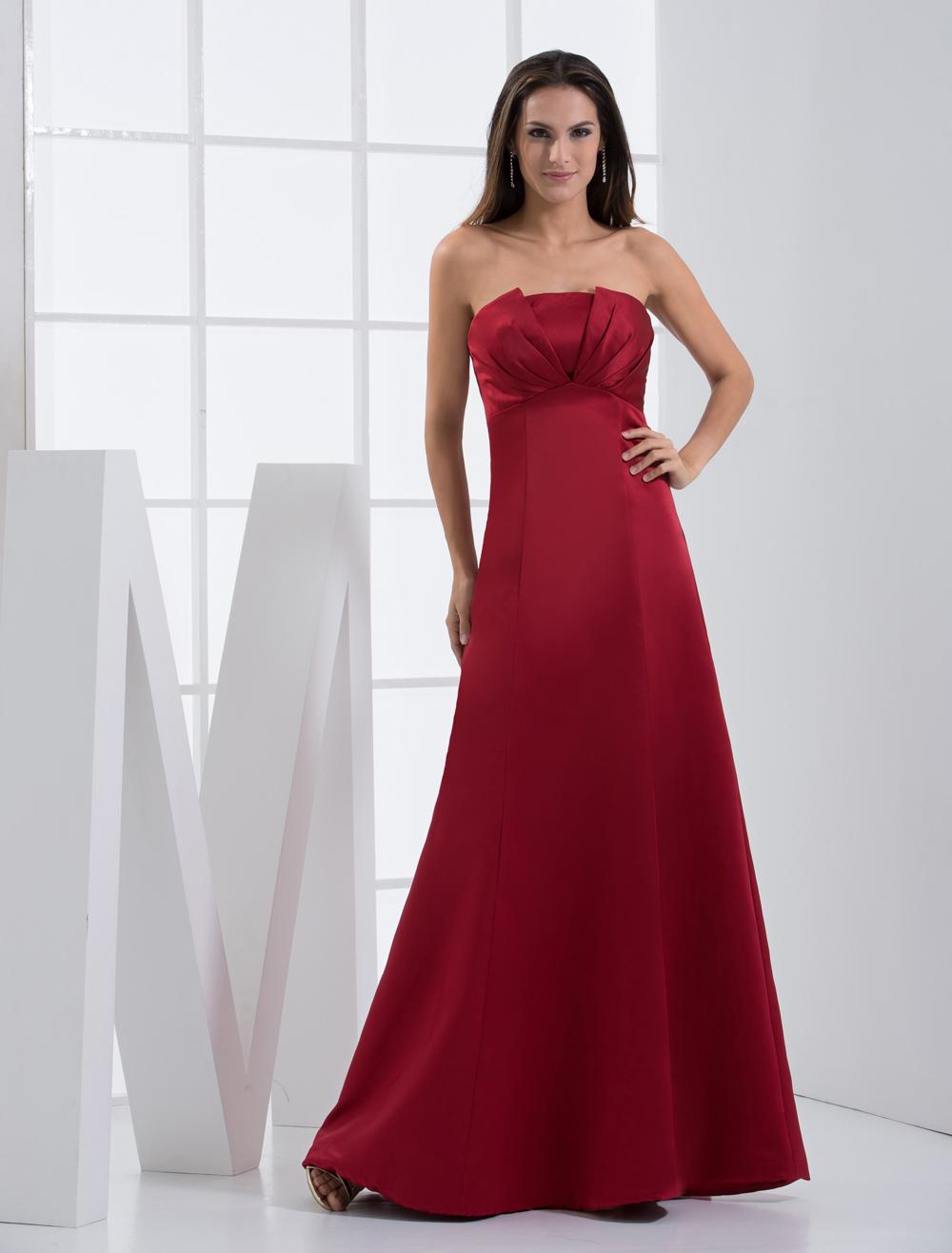 Strapless Bridesmaid Dress Ruby Satin A line Floor Length Prom Dress