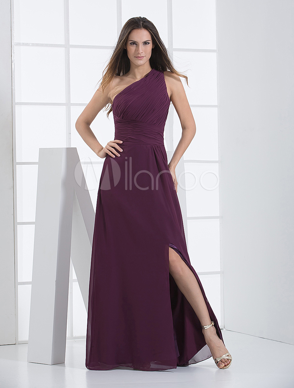 Burgundy Splitting One-Shoulder Chiffon Matte Satin Bridesmaid Dress