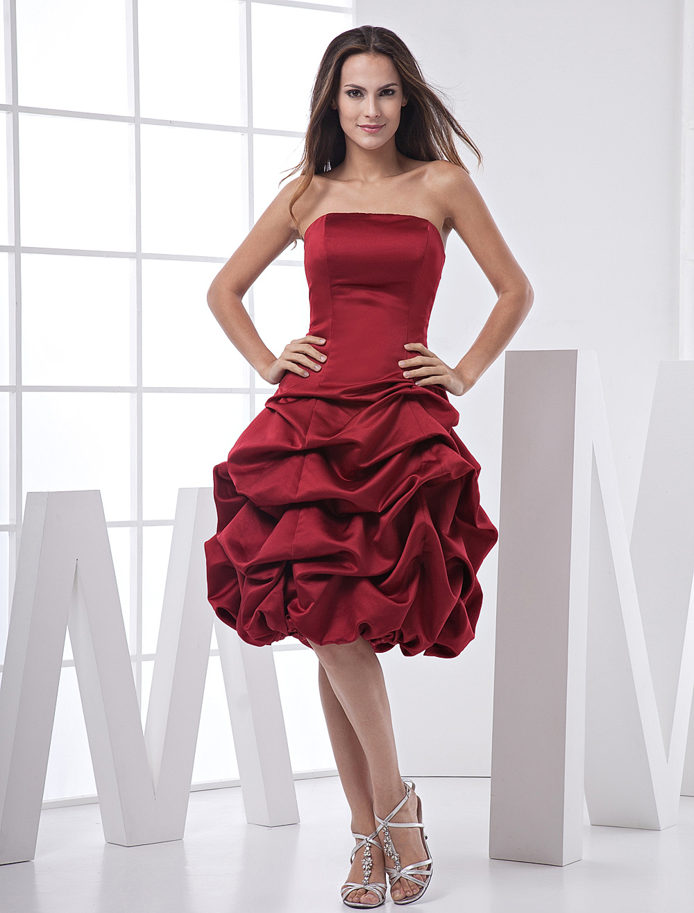 Burgundy Strapless Ball Gown Satin Prom Homecoming Dress