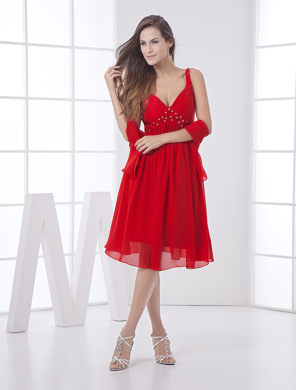 Casual Empire Waist V-Neck Pleated Chiffon Bridesmaid Dress