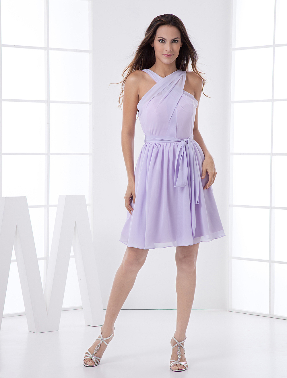 Champagne Criss-Cross Halter Chiffon Bridesmaid Dress