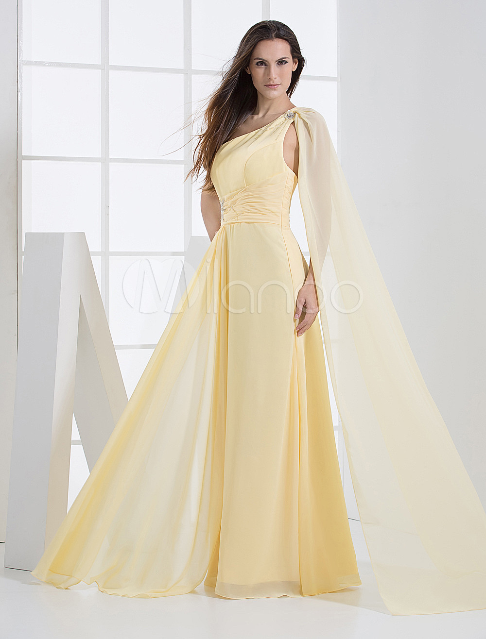 Sheath Daffodil Satin Beading One-ShoulderWedding Bridesmaid Dress