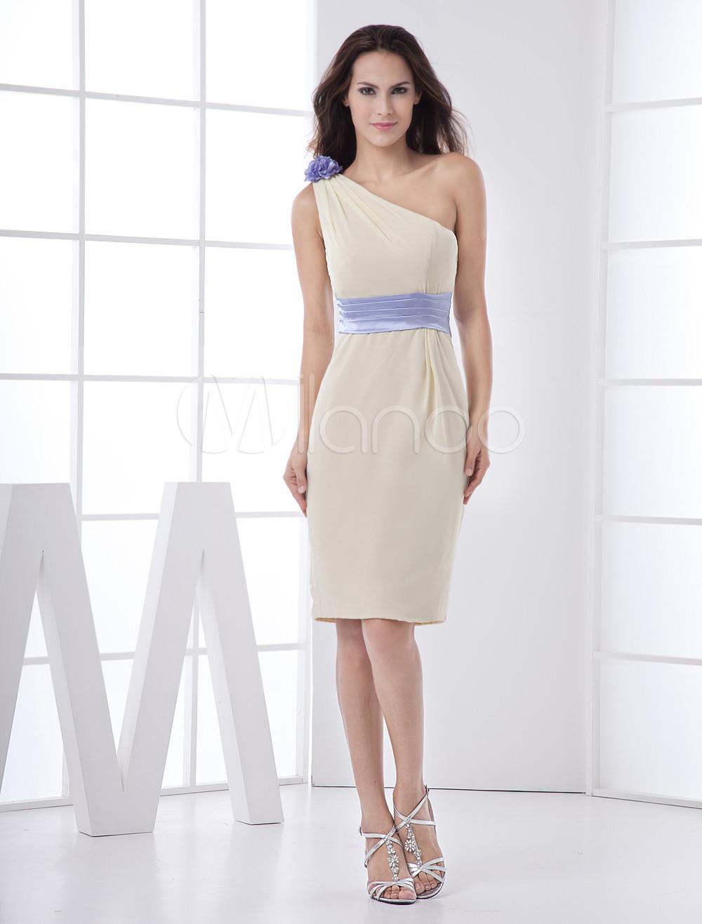 Daffodil Piping One-Shoulder Satin Bridesmaid Dress