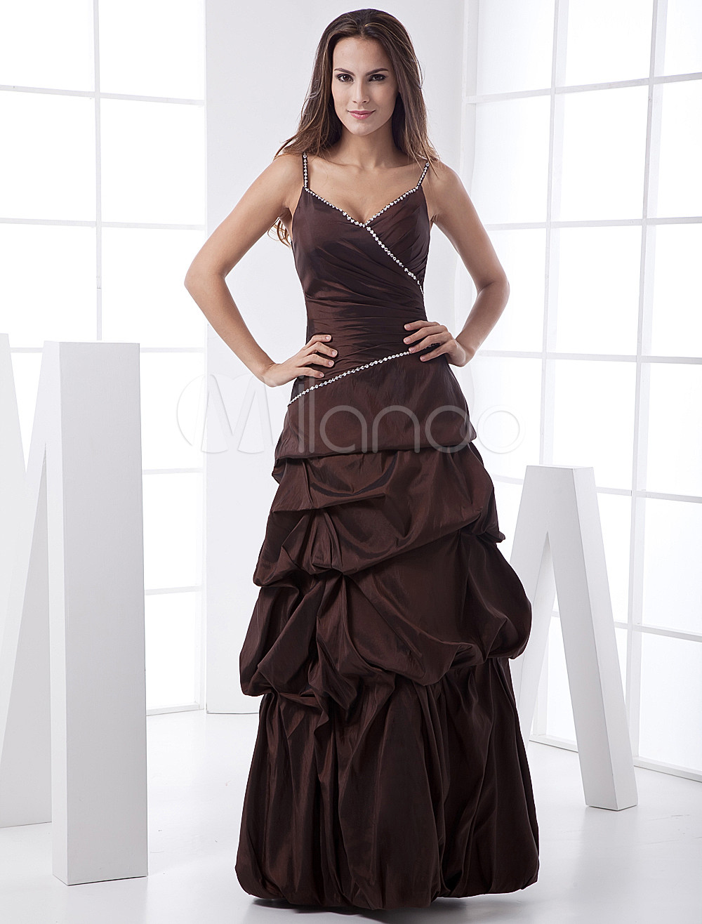 Elegant Ball Gown Spaghetti Floor Length Taffeta Bridesmaid Dress