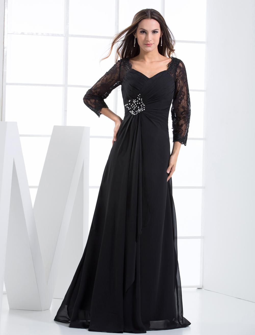 Black Evening Dress Rhinestone Lace Up Chiffon Lace Dress (Wedding Evening Dresses) photo
