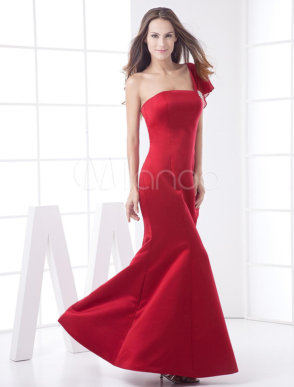 Elegant Burgundy Mermaid Trumpet One-Shoulder Satin Bridesmaid Dress