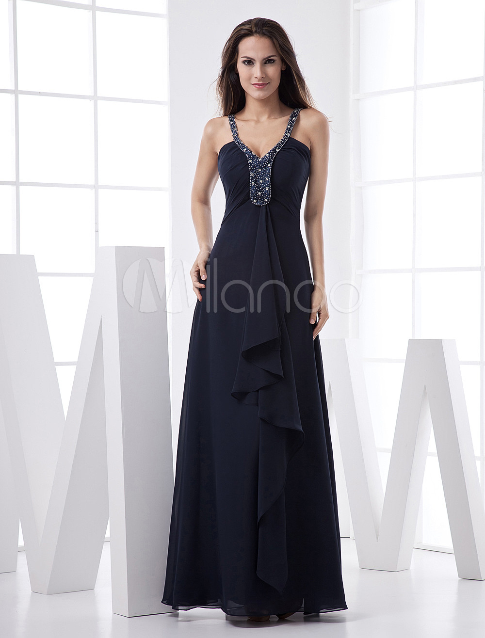 Elegant Navy Blue Chiffon Ruffles Evening Dress
