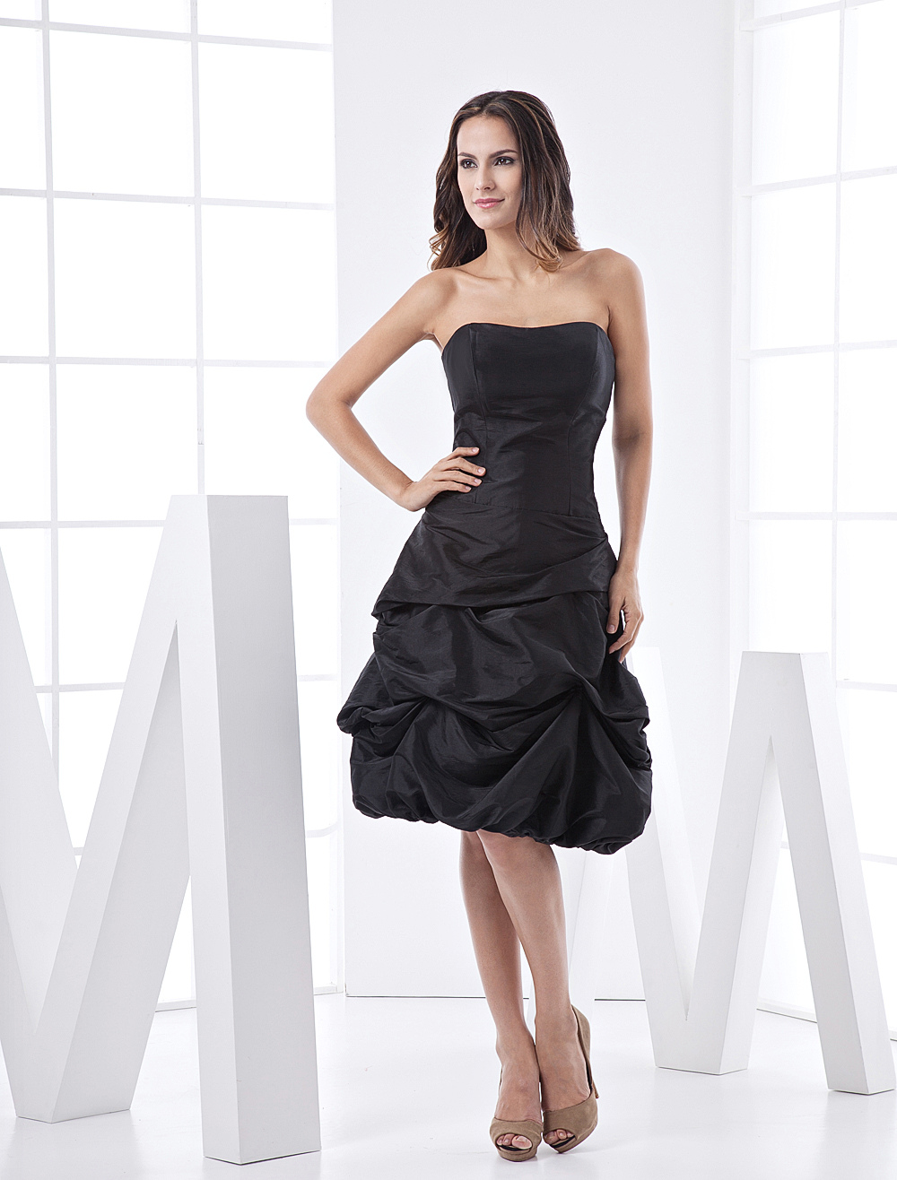 Black Cocktail Dress with Strapless Backless Ruched Taffeta Dress