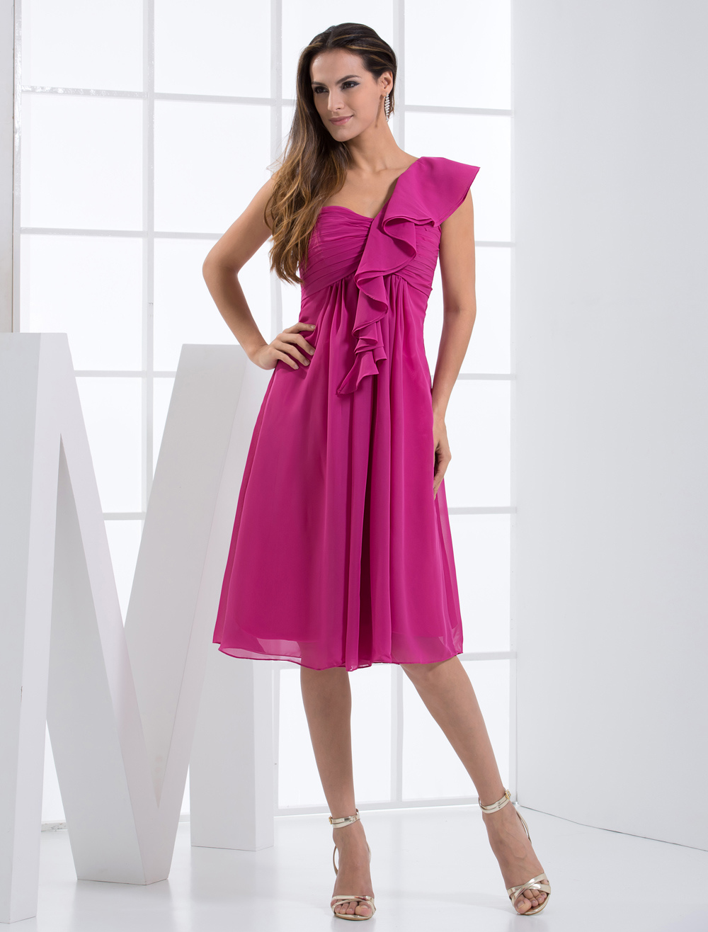 Fuchsia Knee Length One-Shoulder Chiffon Matte Satin Bridesmaid Dress