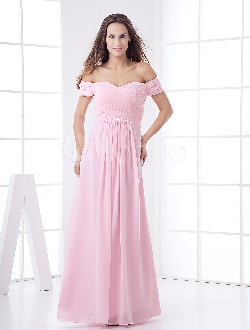 Glamorous Pink Chiffon A-line Maxi Bridesmaid Dress