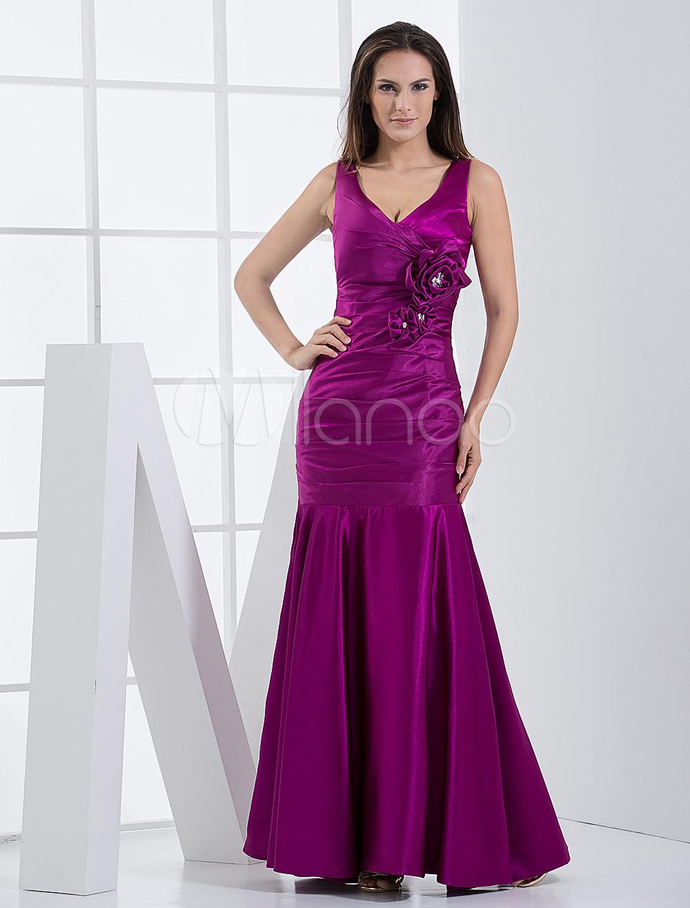 V-Neck Flower Bridesmaid Dress