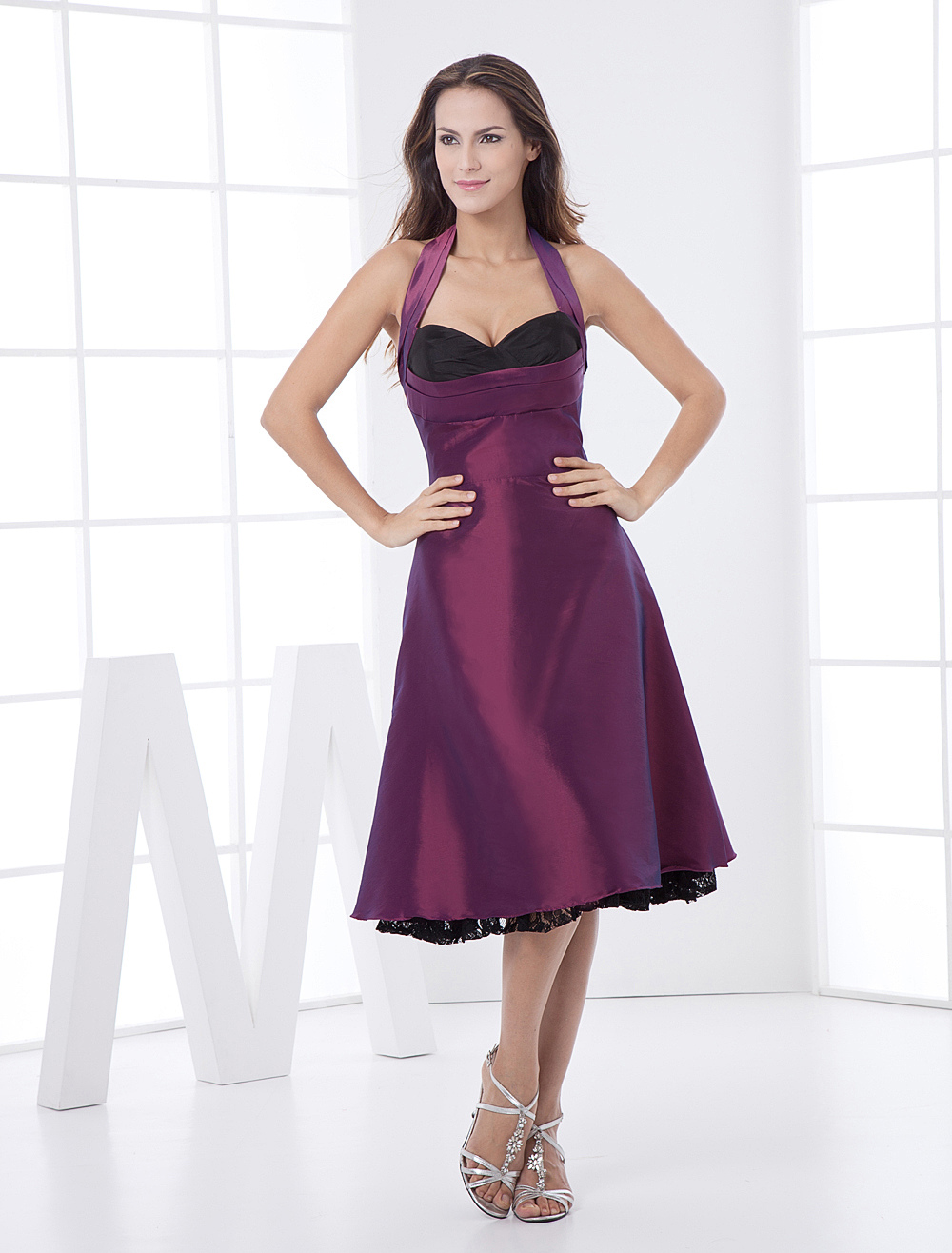 Grape Purple Halter Taffeta Net Prom Dress