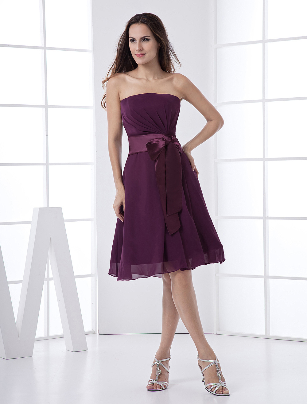 Grape Strapless Sash Satin Chiffon Summer Homecoming Bridesmaid Dress