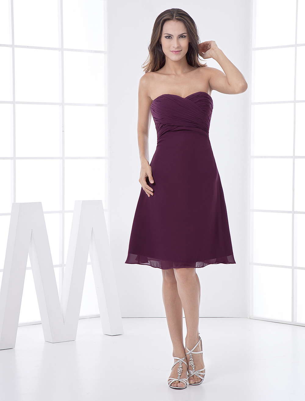 Grape Strapless Chiffon Satin Bridesmaid Dress