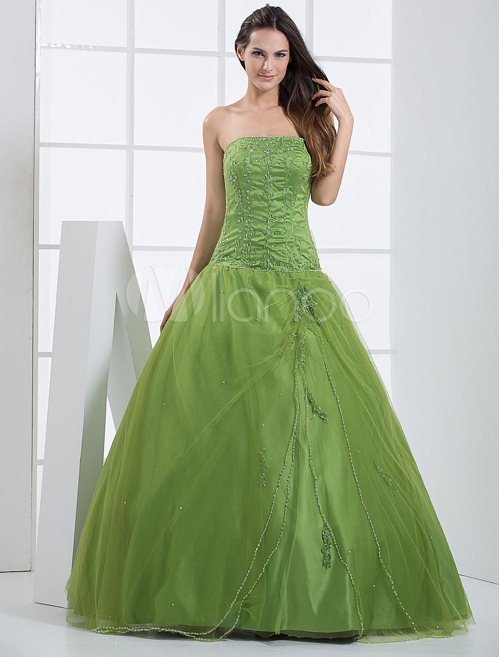 Green Ball Gown Strapless Quinceanera Dress