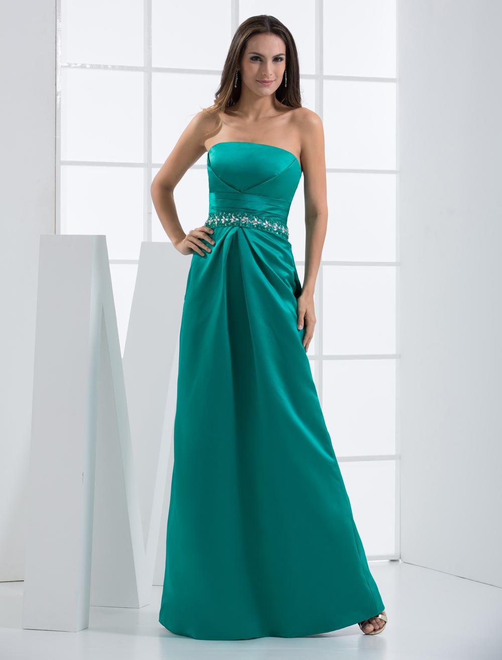 Strapless Evening Dress Blue Green Floor Length Satin Party Dress (Wedding Cheap Party Dress) photo