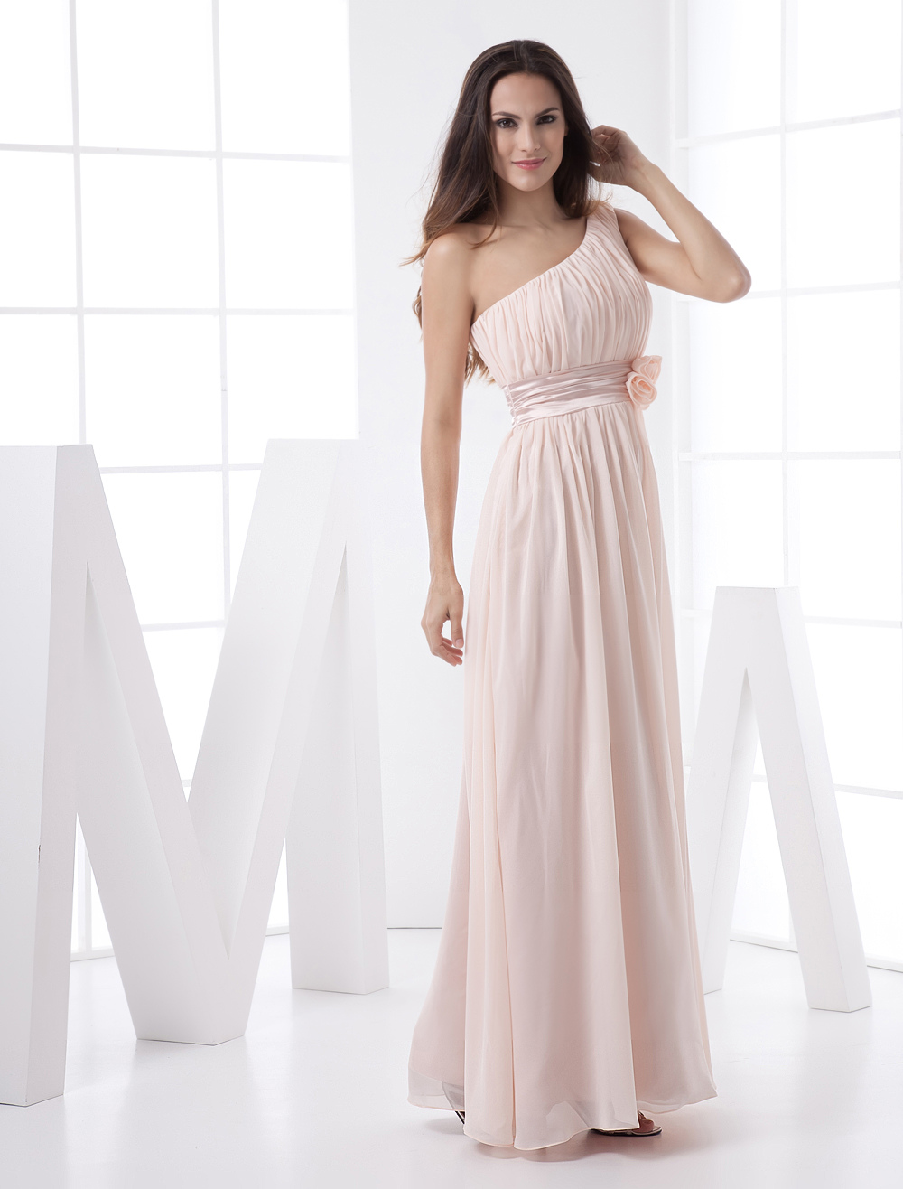 Blush Pink Peach Bridesmaid Dress Chiffon One Shoulder Empire Waist Flower Sash Maxi Prom Dress