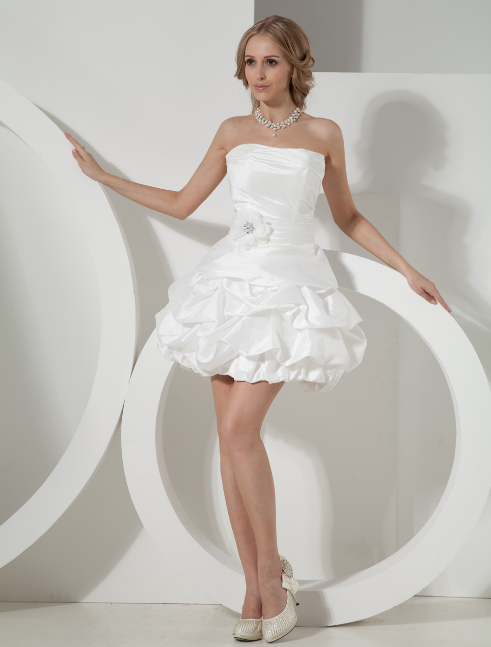 Ivory Strapless Mini Wedding Dress Milanoo Com