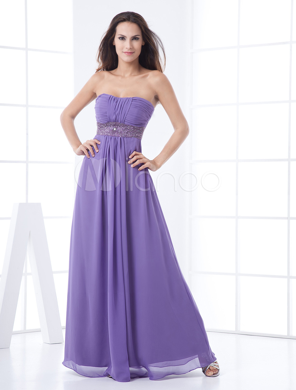 Lavender Strapless Empire Waist Beading Chiffon Bridesmaid Dress