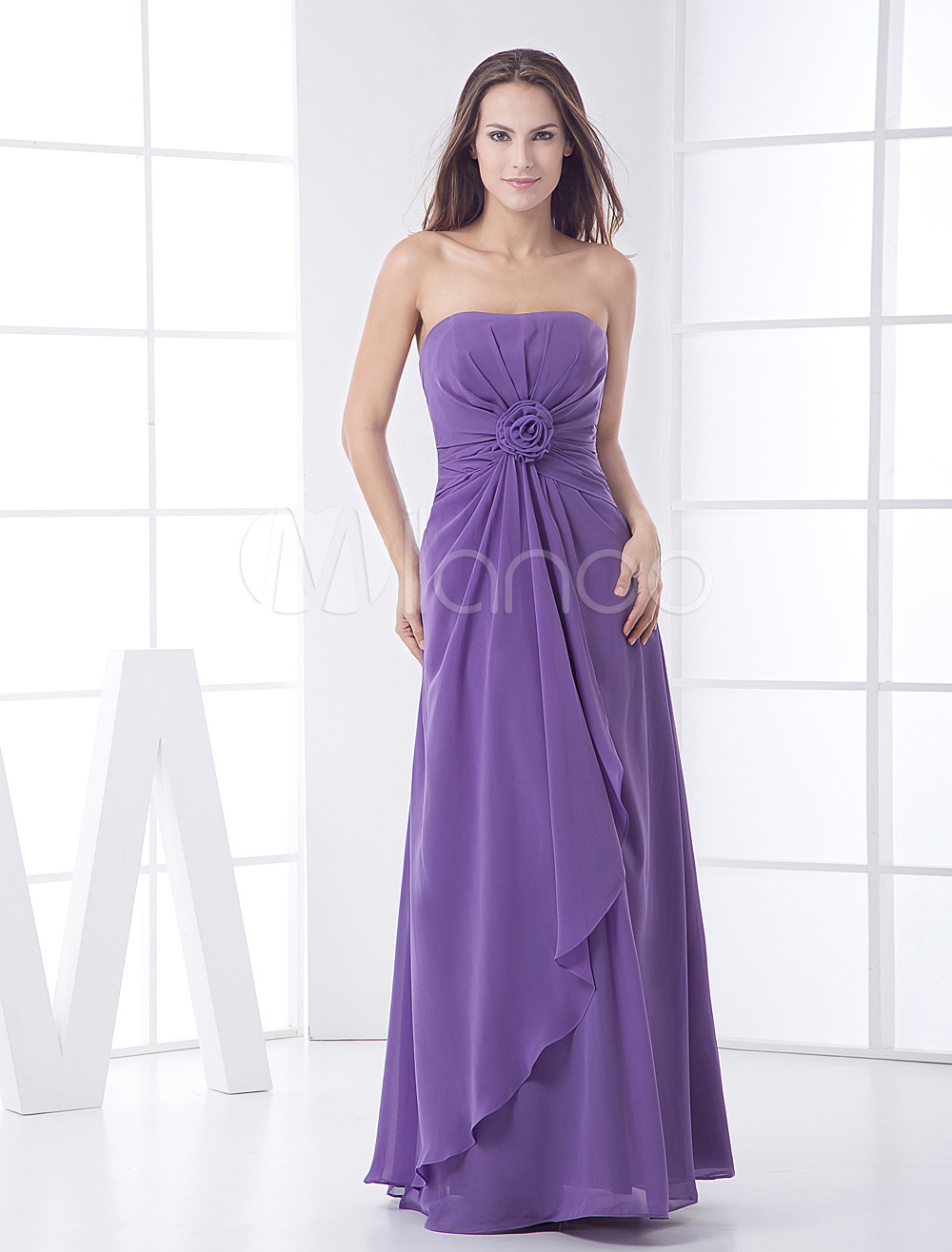 Lavender Strapless Flower Cascading Ruffles Chiffon Bridesmaid Dress