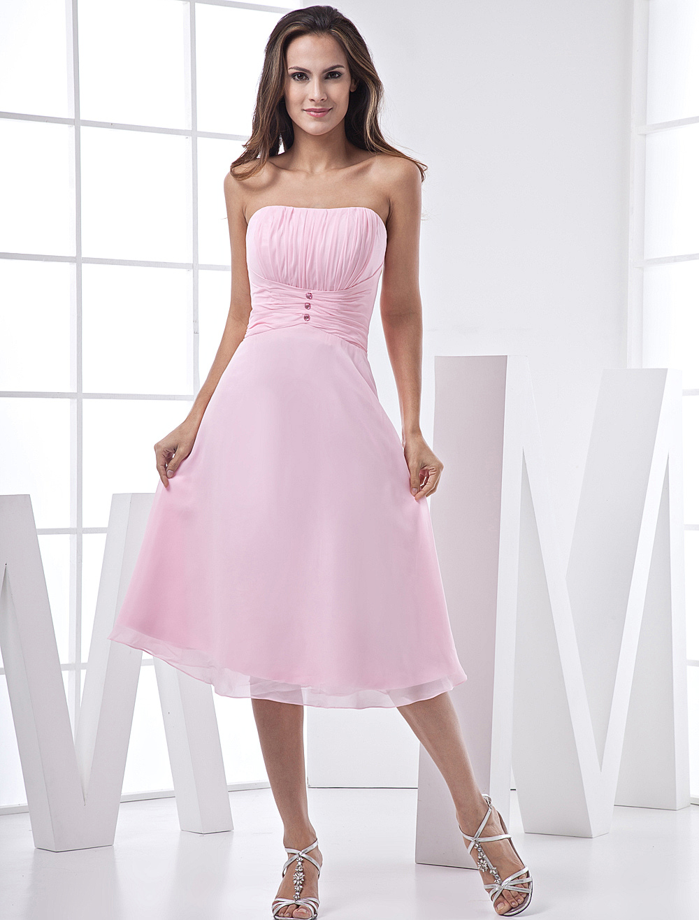 Pink Lovely A-line Strapless Chiffon Satin Prom Gown/Homecoming Dress