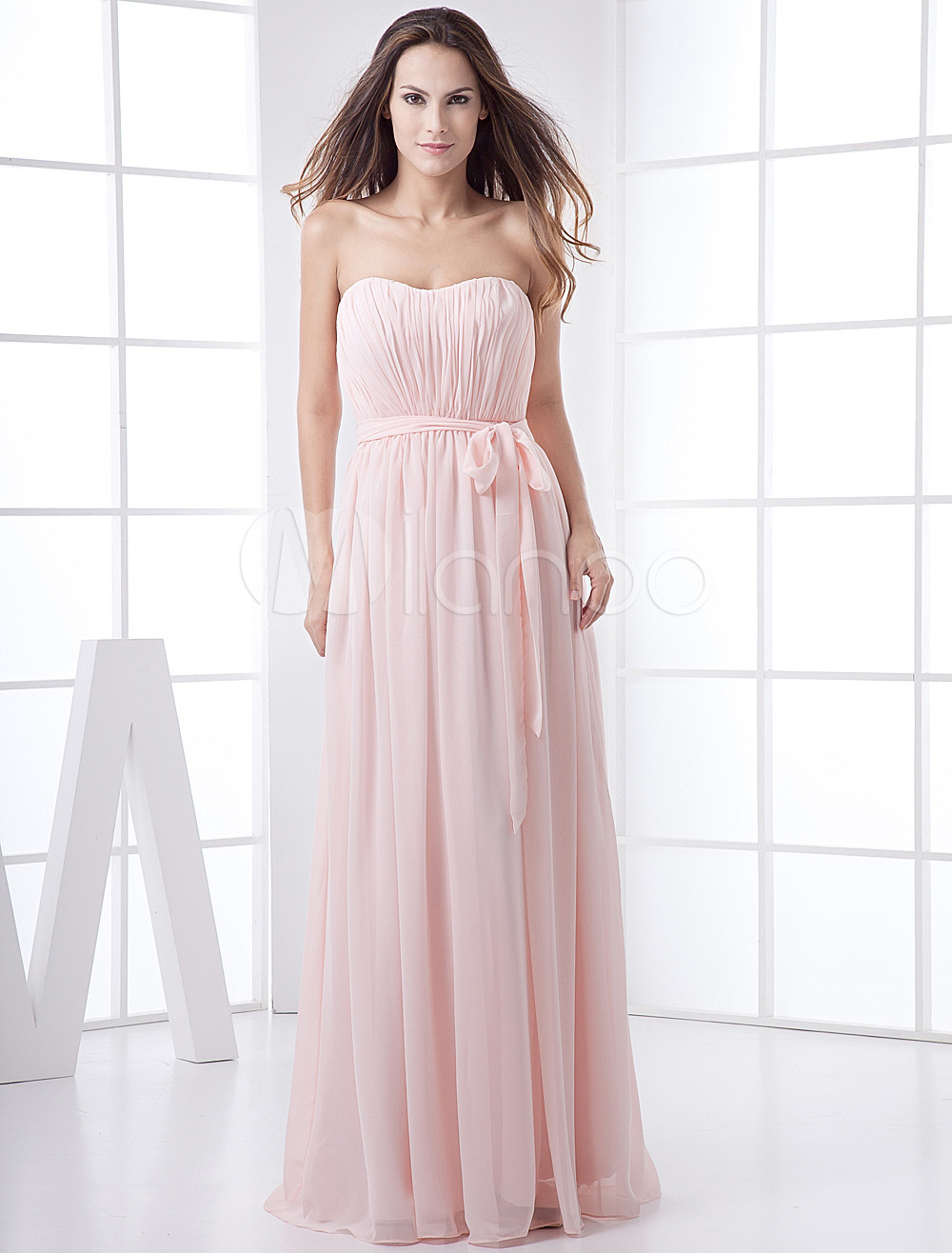 Pink Strapless Bow Chiffon Bridesmaid Dress