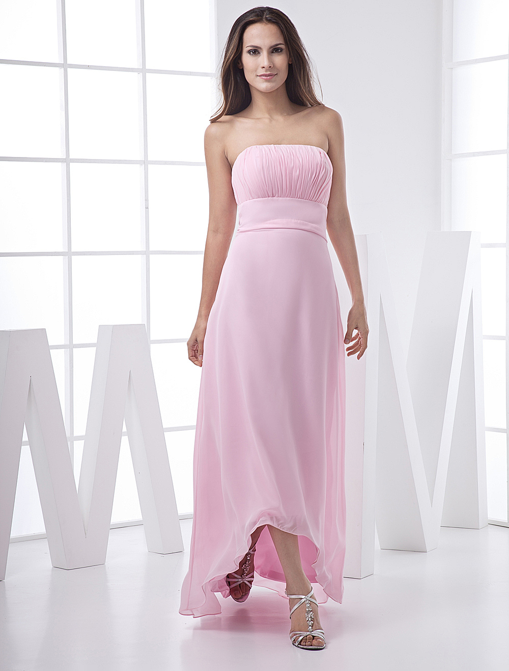 Pink Empire Waist Chiffon High Low Bridesmaid Dress