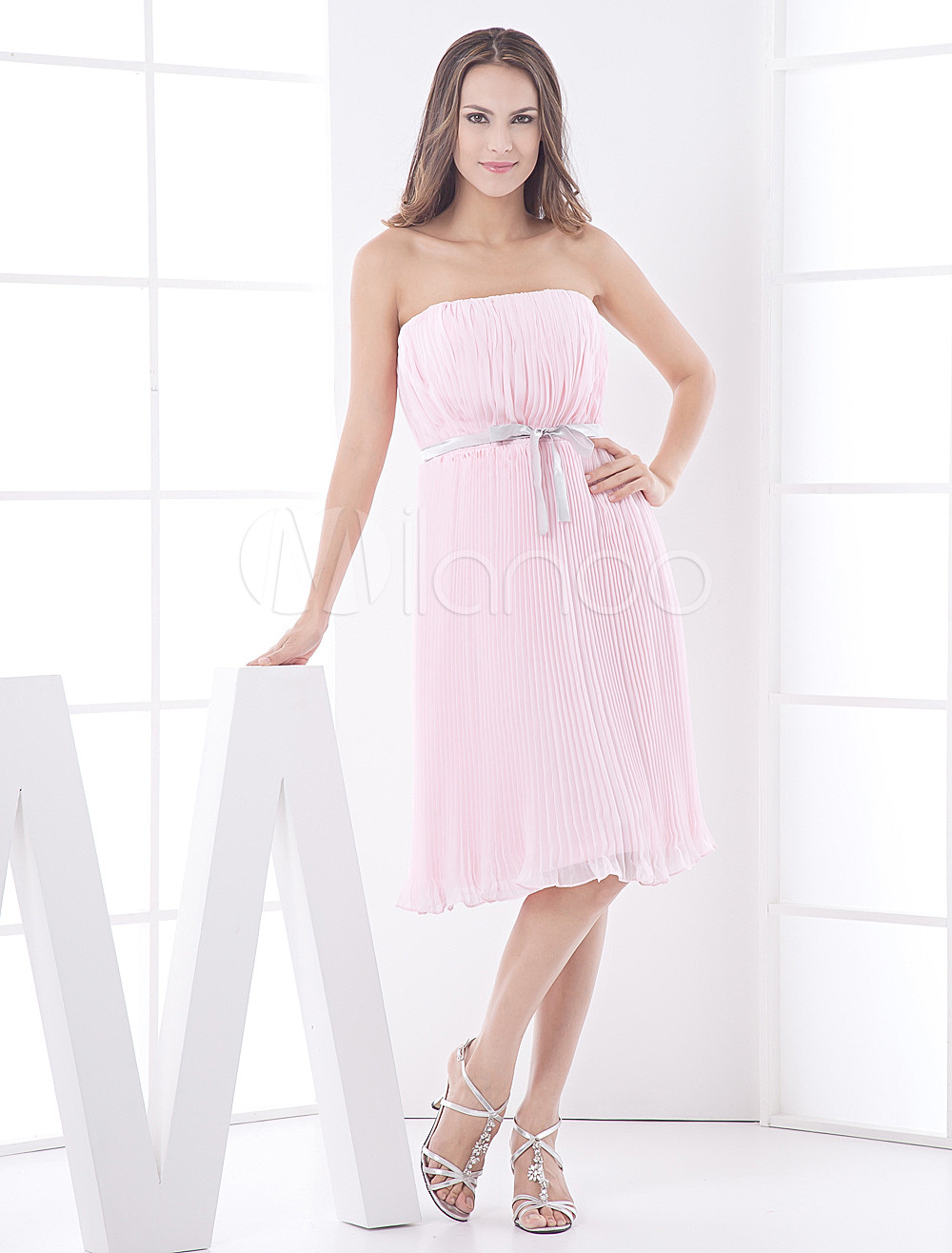 Pink Strapless Knee Length Draped Chiffon Bridesmaid Dress