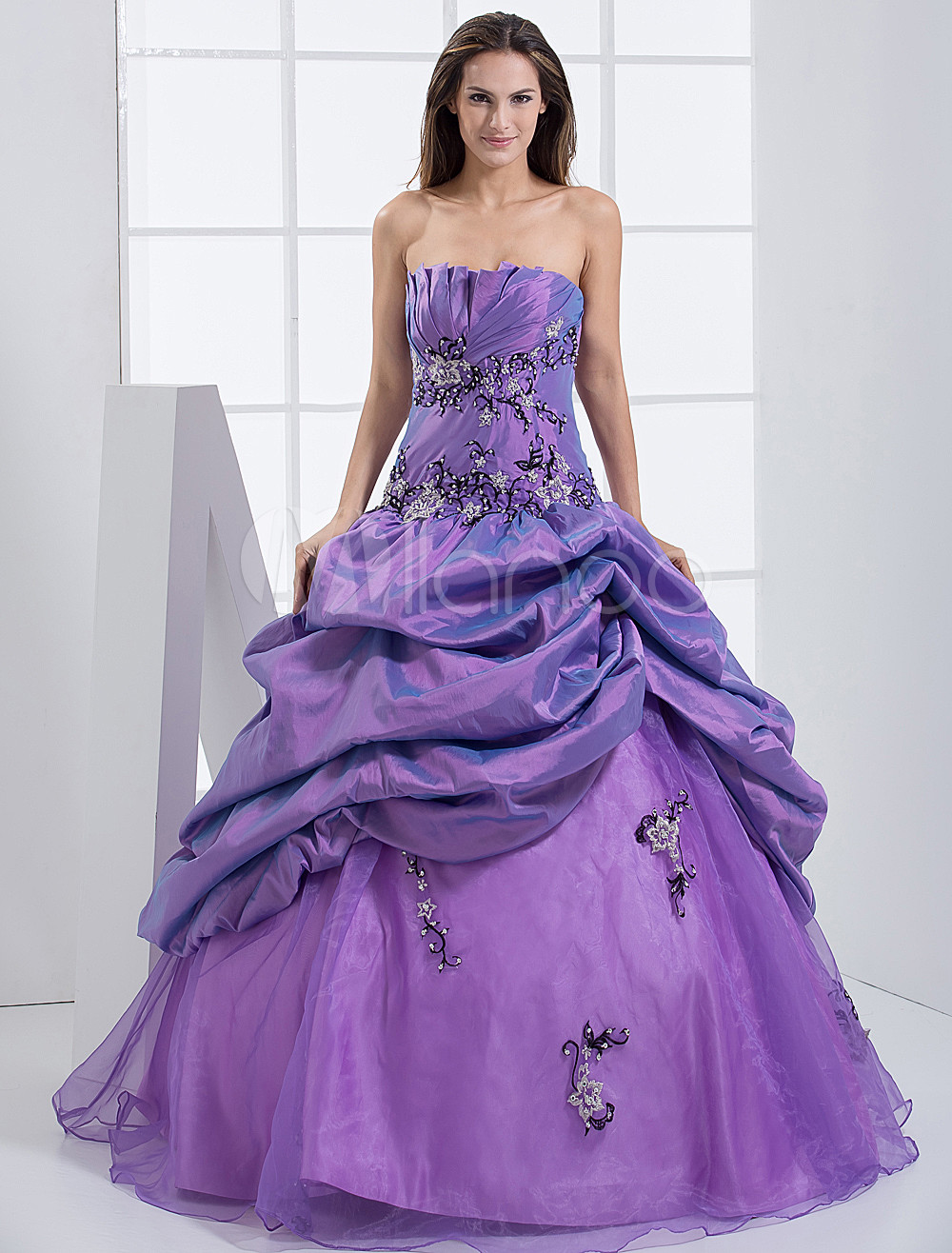 Purple Taffeta Strapless Floor Length Princess Prom Dress
