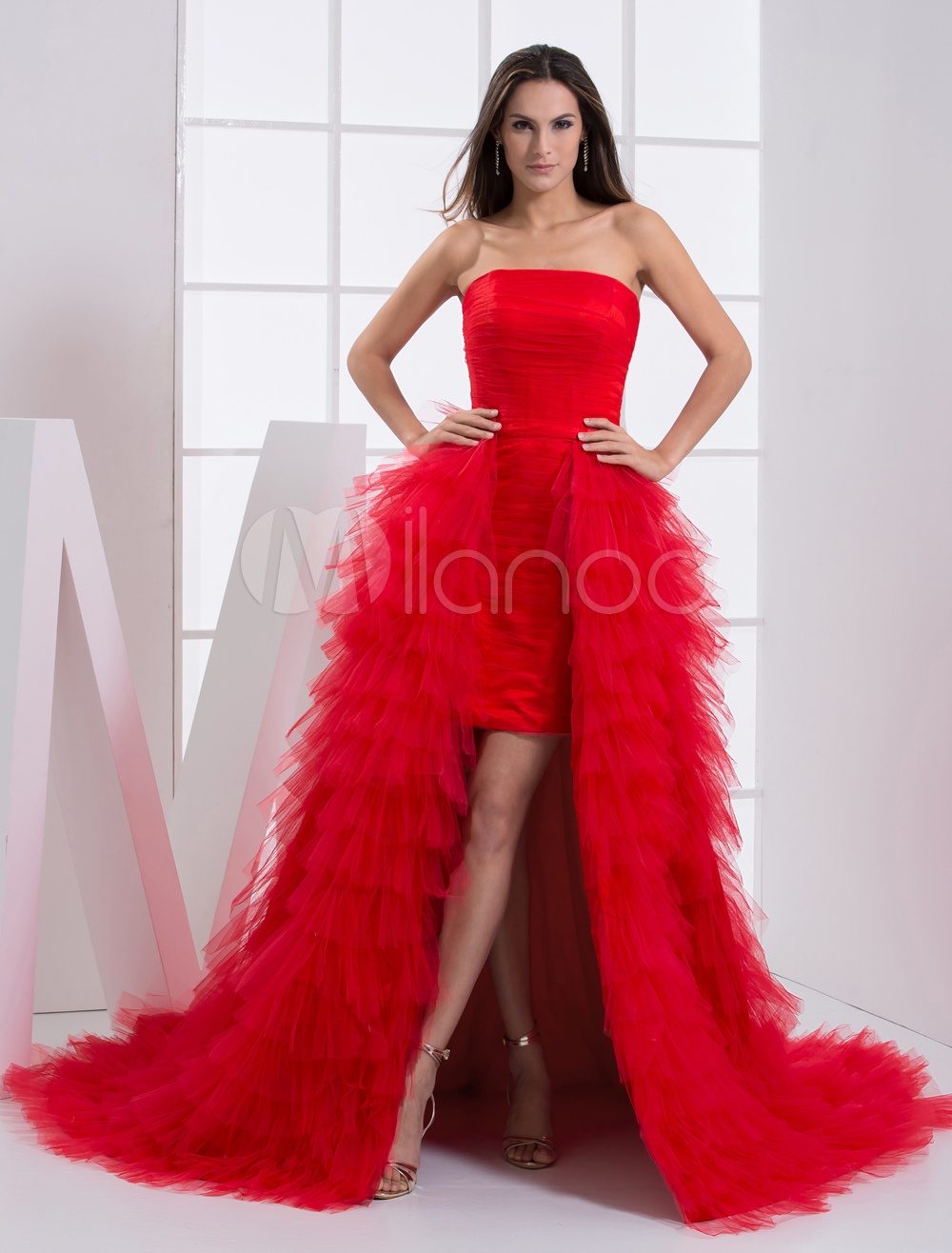 Grace Red Strapless Sleeveless Ruffles Sheath Tulle Prom Dress (Wedding Prom Dresses) photo