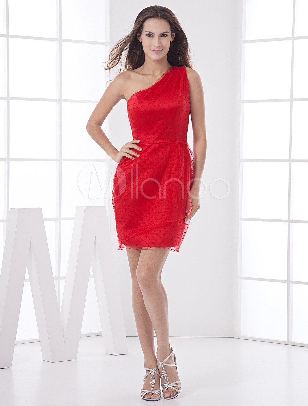 One-Shoulder Chiffon Red Elegant Bridesmaid Dress