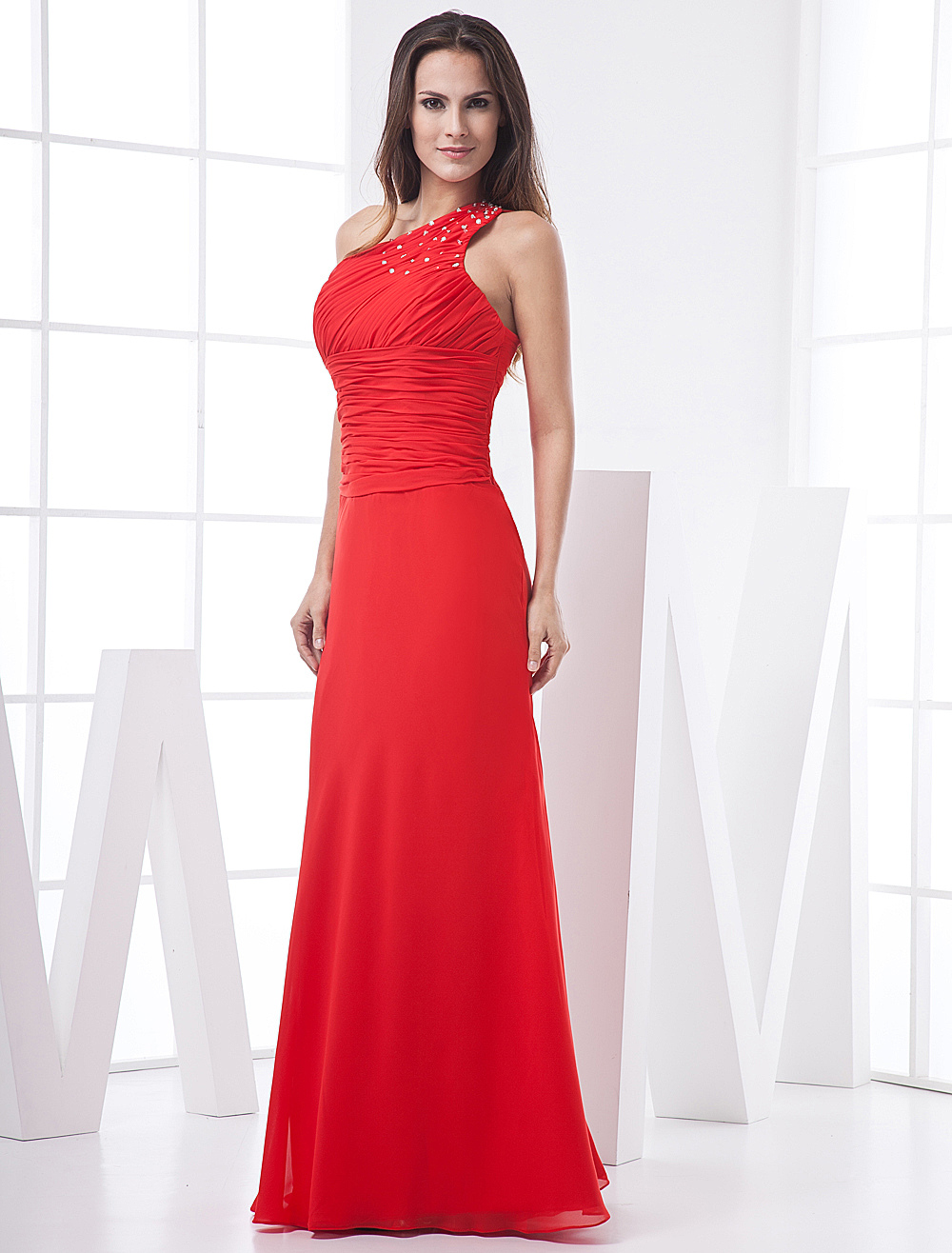 Red Sheath One-Shoulder Chiffon Silk Prom Dress