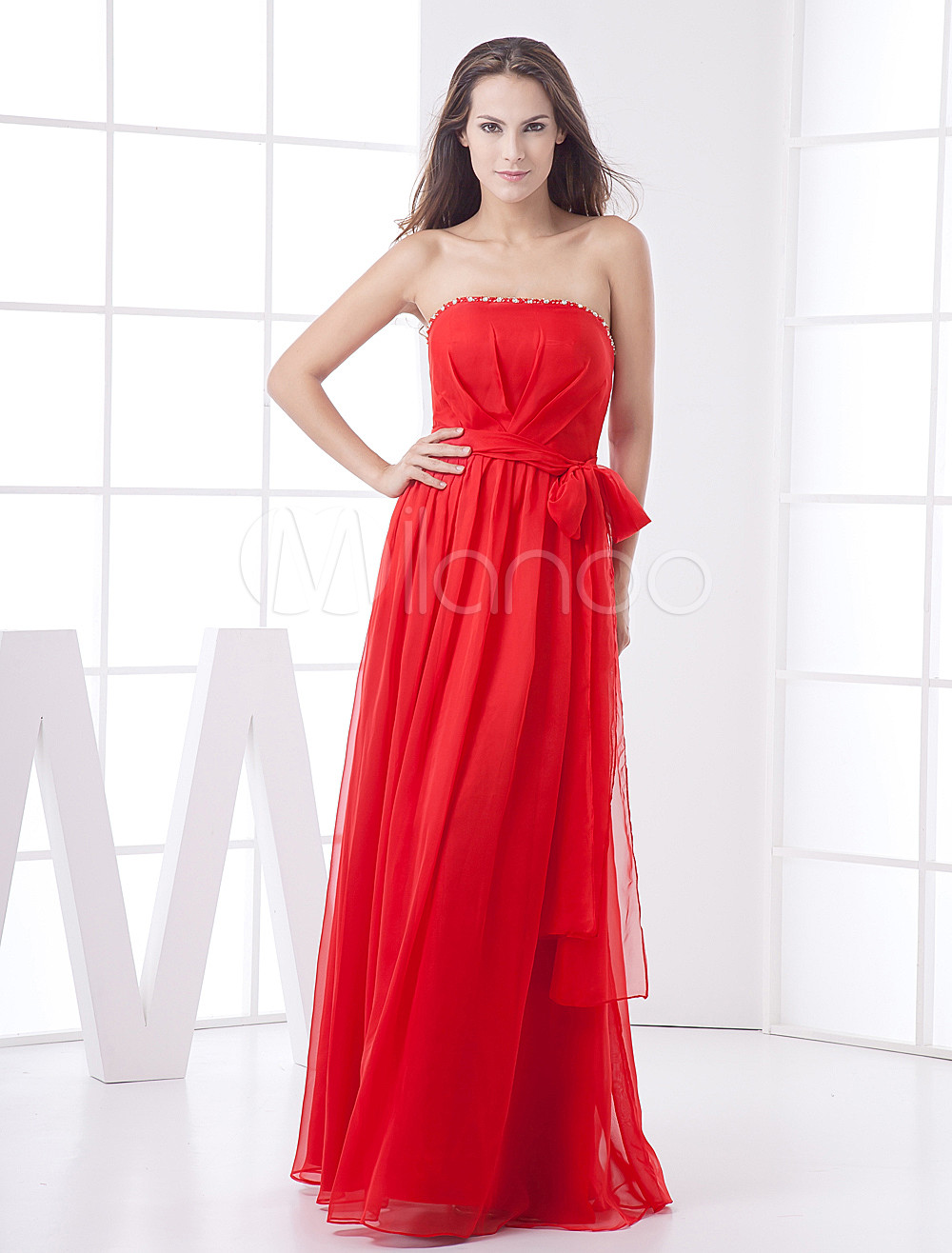 Red Strapless Bow Chiffon Bridesmaid Dress