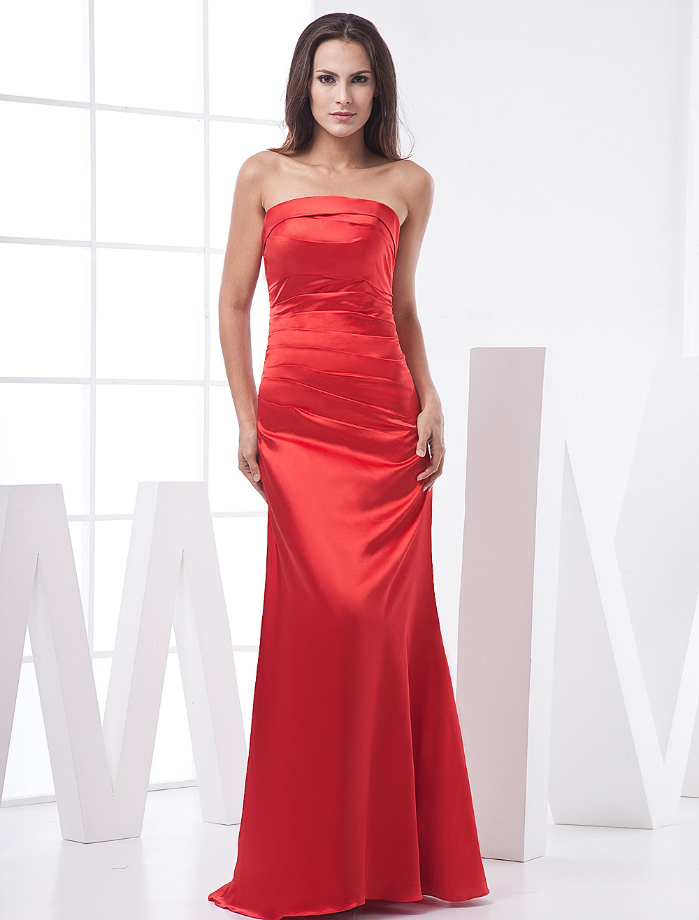 Red Strapless Satin Prom Dress - Milanoo.com