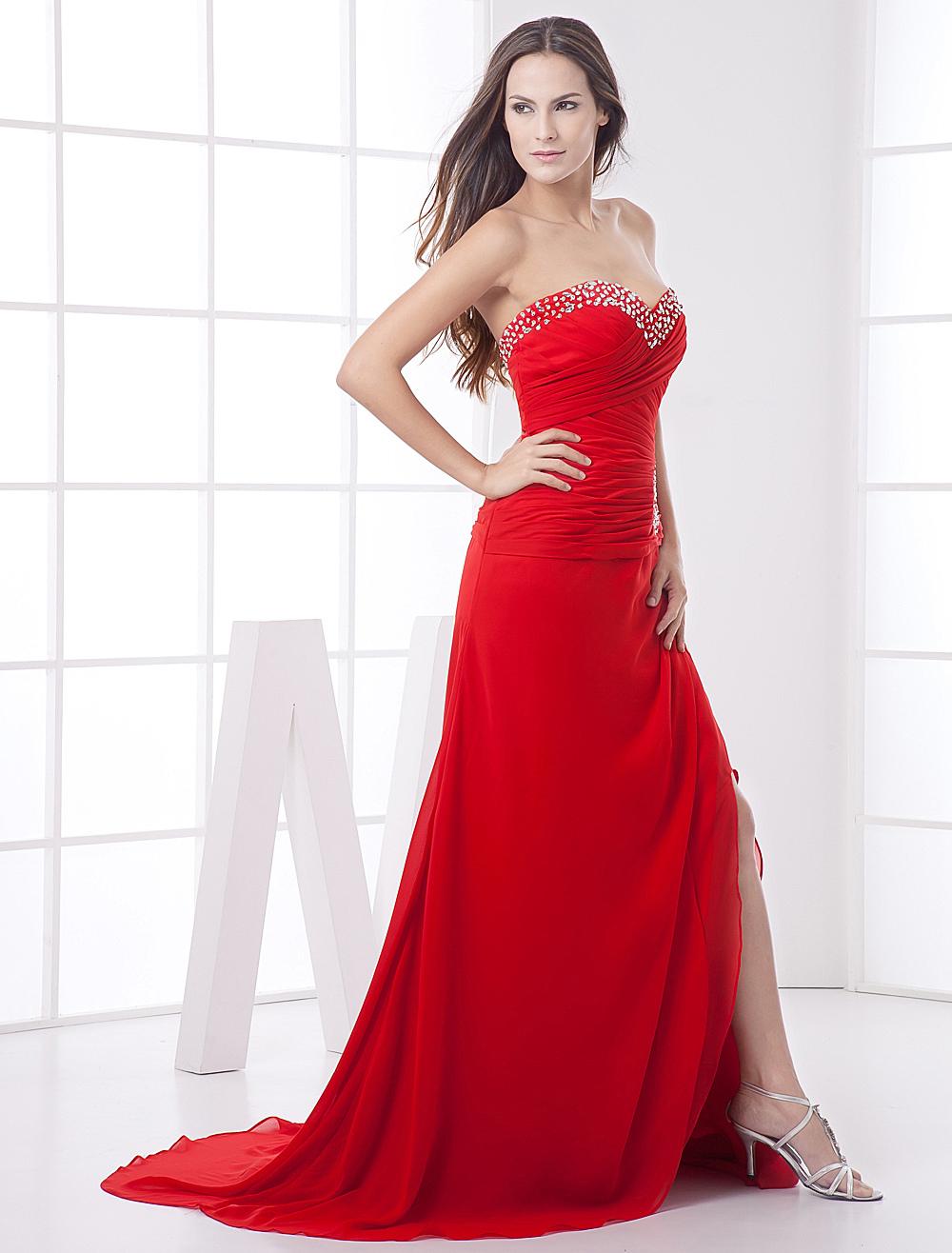 Red Strapless Sweep Train Chiffon Maxi Dress (Wedding Cheap Party Dress) photo