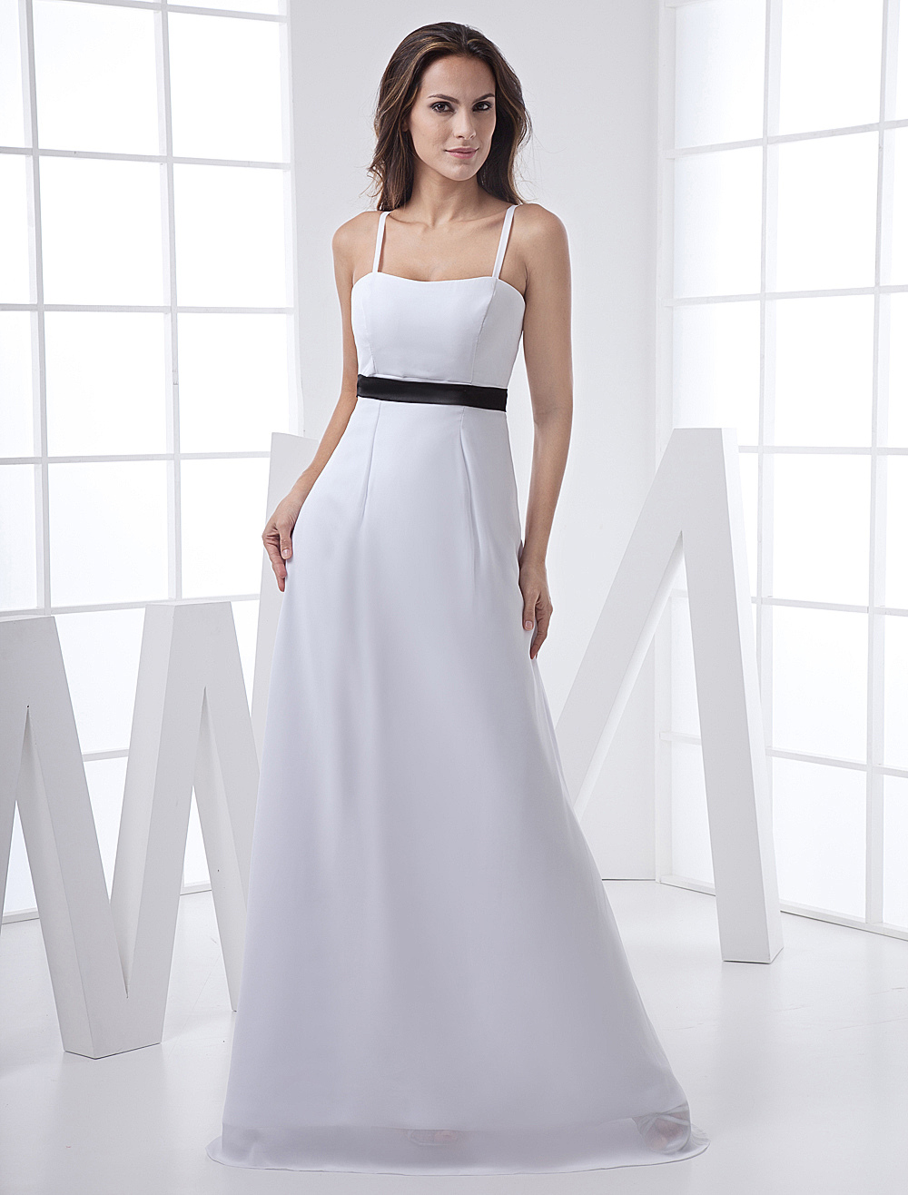 Sheath White Sash Satin Bridesmaid Dress