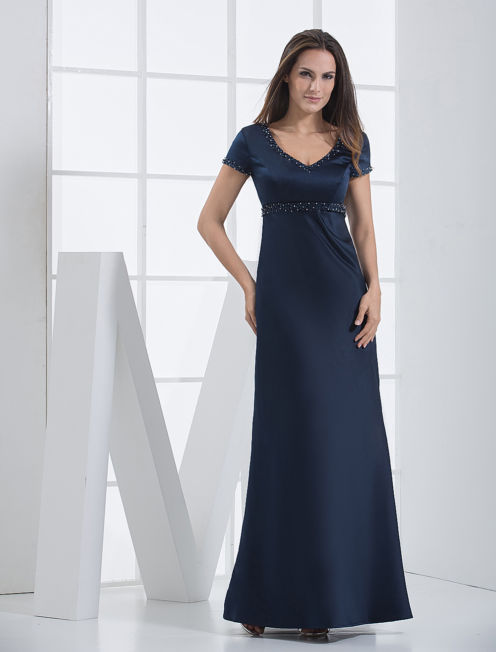 Short Sleeved Floor Length Satin Bridesmaid Dress