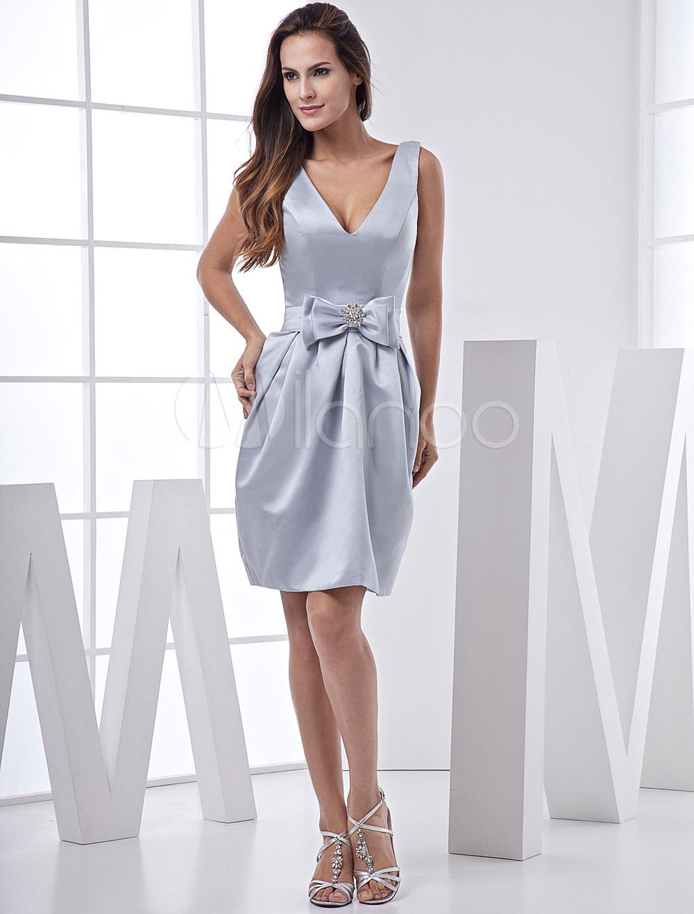Silver V-Neck Knee Length Bow Waist Satin Bridesmaid Dresses