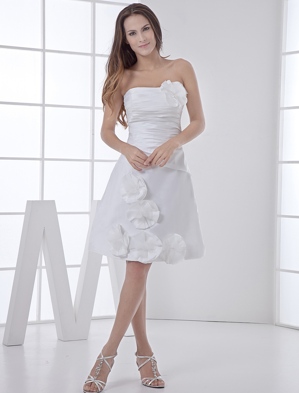 ... -Length Strapless Flowers Ruched Taffeta Wedding Gown - Milanoo.com