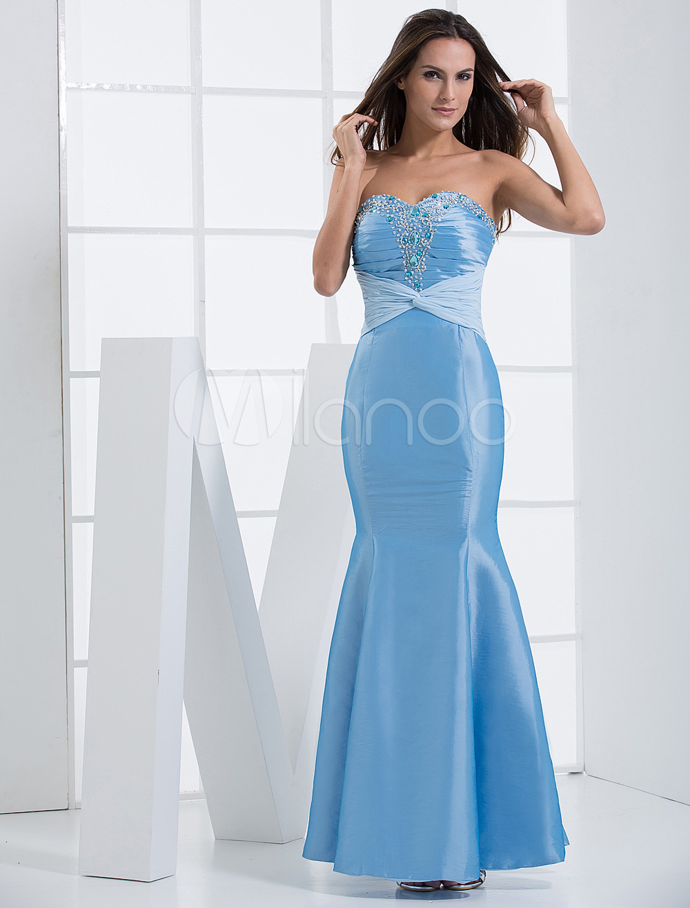 Mermaid Light Sky Blue Taffeta Studded Sweetheart Neck Bridesmaid Dress