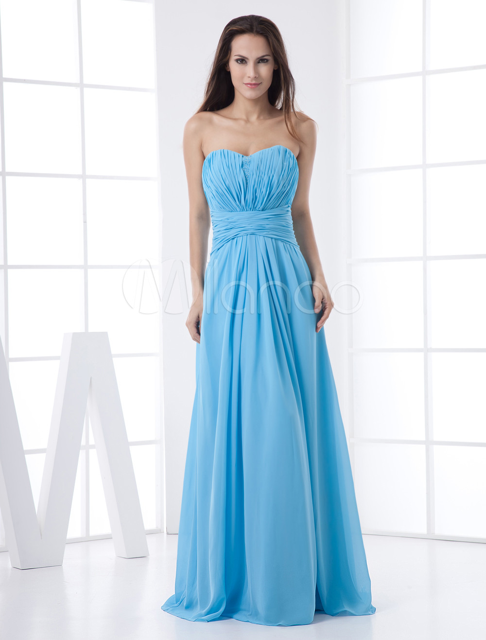 Light Sky Blue Chiffon Draped Sweetheart Neck Wedding Bridesmaid Dress