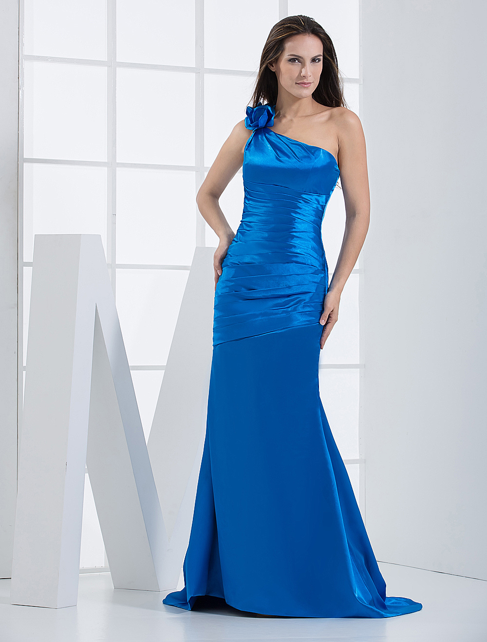 Slim Royal Blue Pleated One-Shoulder Flower Elastic Woven Pattern Bridesmaid Dress