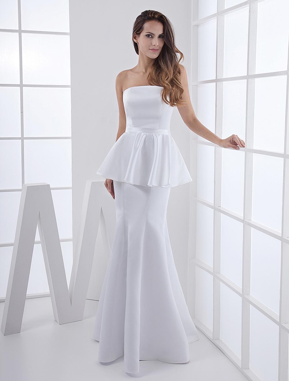 White Satin Strapless Evening Dress (Wedding Evening Dresses) photo