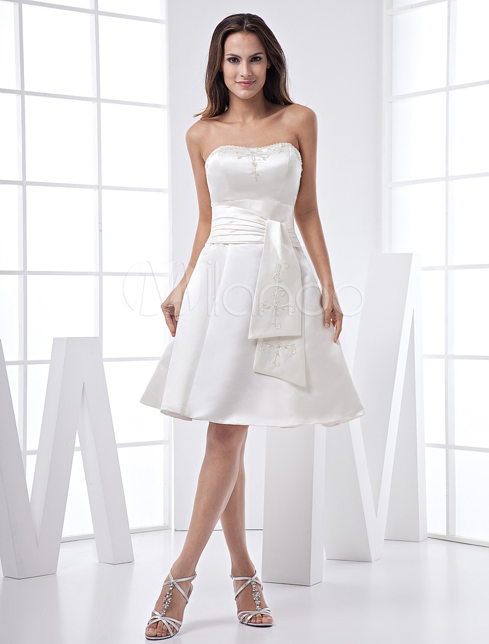 White Strapless Sash Knee Length Satin Prom Homecoming Dress