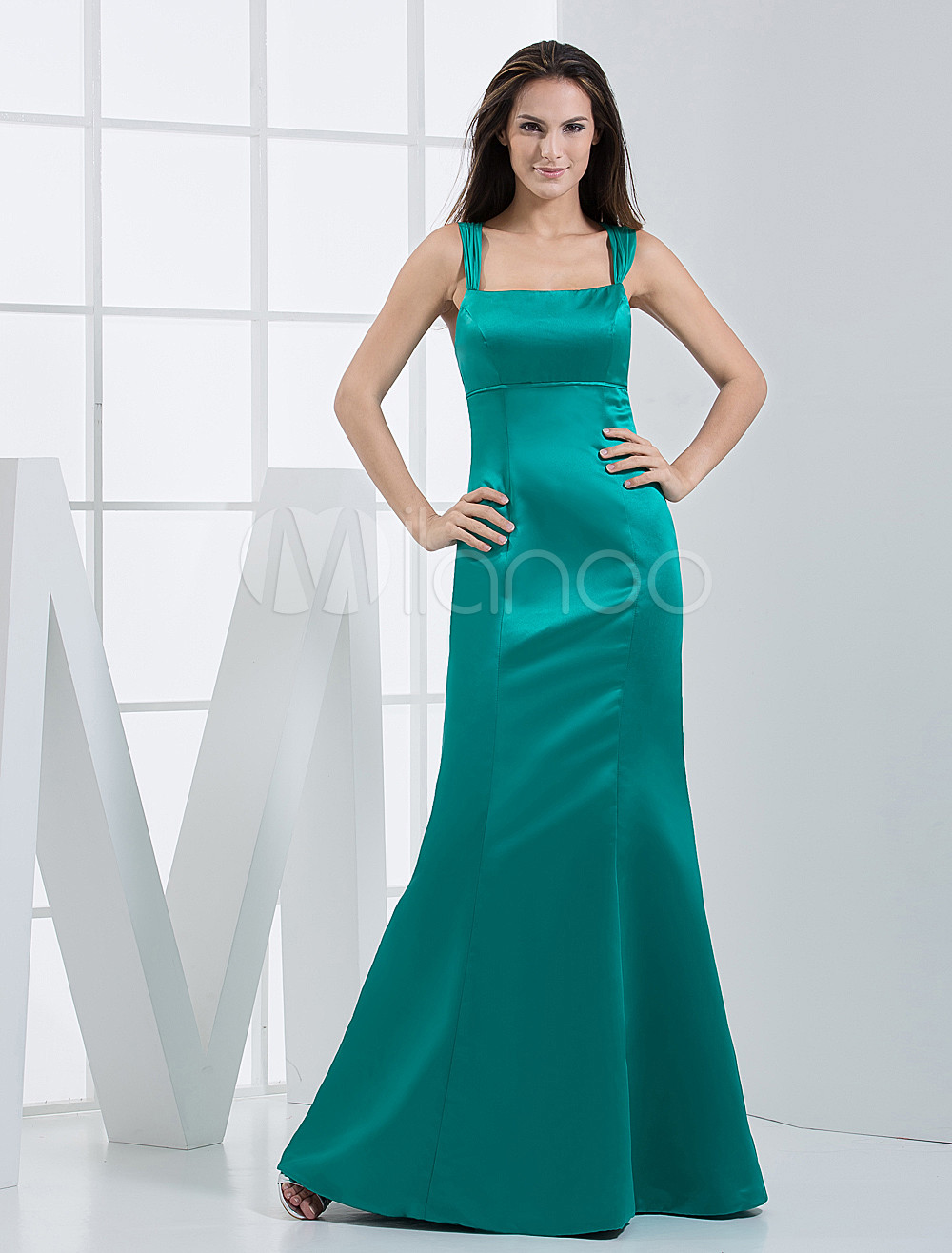 Mermaid Spaghetti Straps Hunter Green Satin Bridesmaid Dress