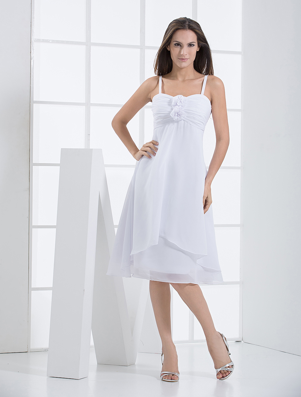 Wonderful White A-line Shank Length Chiffon Bridesmaids Dress