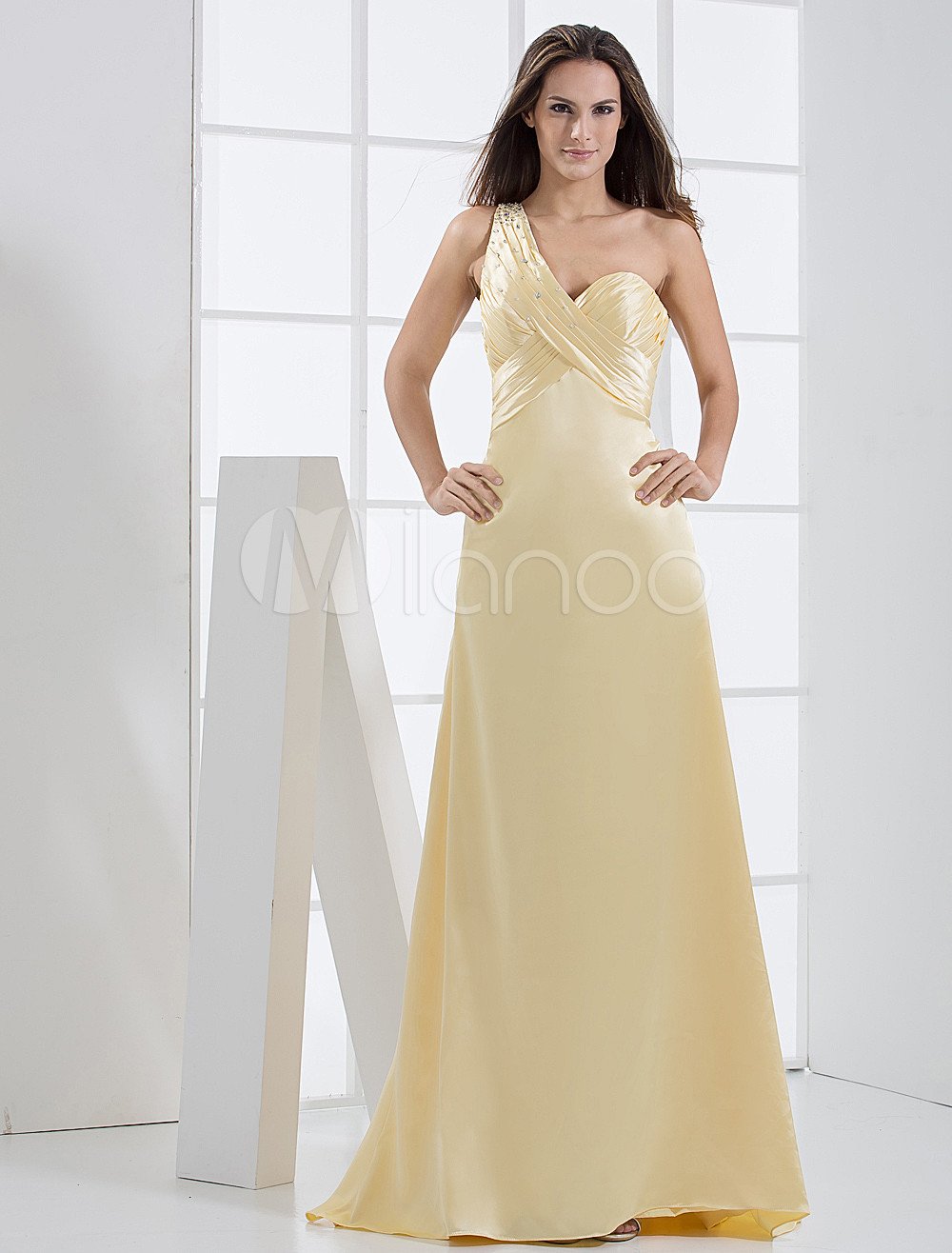 Yellow Spaghetti Floor Length Elastic Woven Satin Prom Dress